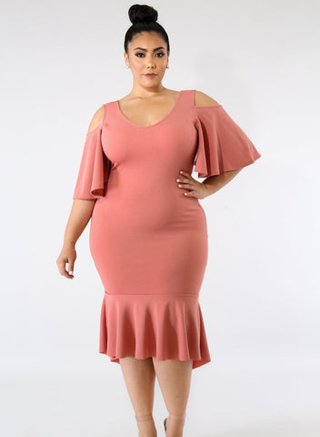 Image of Flutter Sleeve Cold Shoulder Plus Size Dress