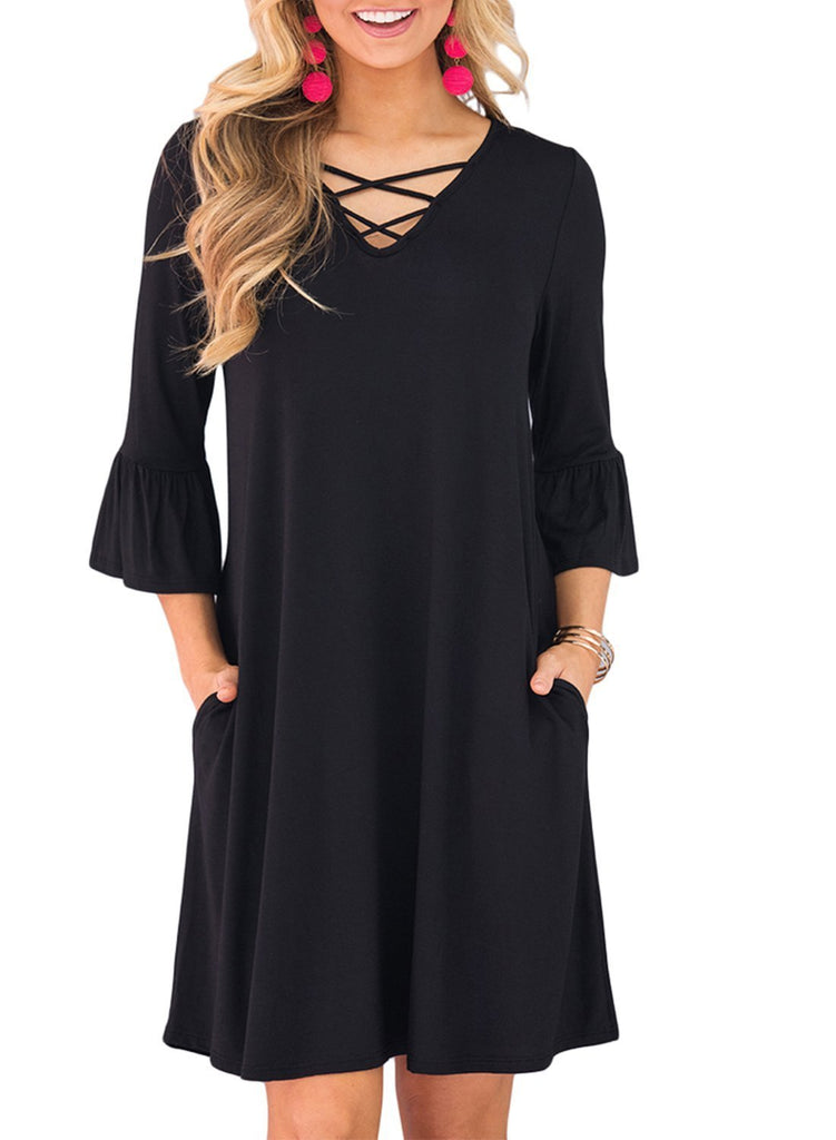 3/4 Sleeve V Neck Crisscross  Dress with Pockets