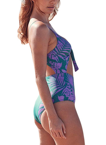 Image of Striped Cutout Tie Front Monokini Swimsuit 410621