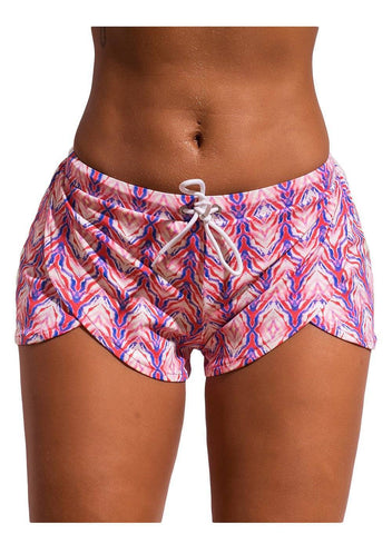 Image of Print Drawstring Waist Boyshort Beach Bottom 410677