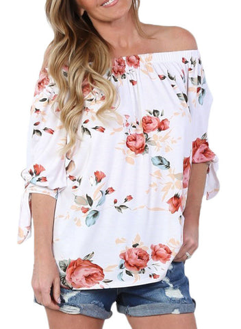 Floral Elastic Off Shoulder Top (LC250289-101-1)