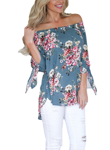 Floral Elastic Off Shoulder Top (LC250289-104-1)