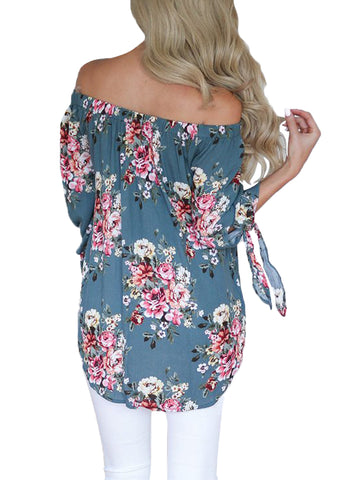 Floral Elastic Off Shoulder Top (LC250289-104-2)