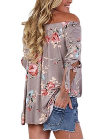 Image of Floral Elastic Off Shoulder Top (LC250289-16-2)