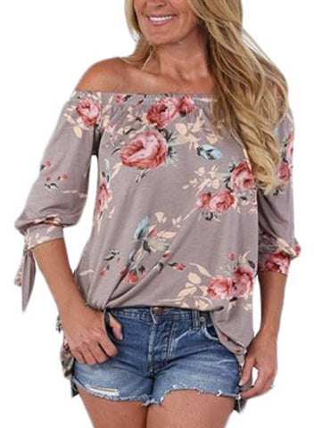 Image of Floral Elastic Off Shoulder Top (LC250289-16-1)