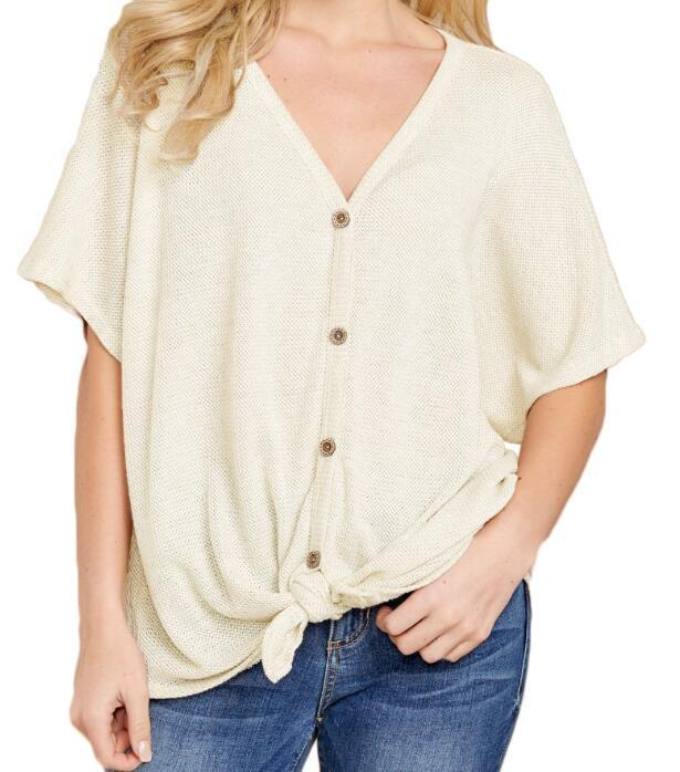 Dolman Buttoned Front Top with Tie Blouse