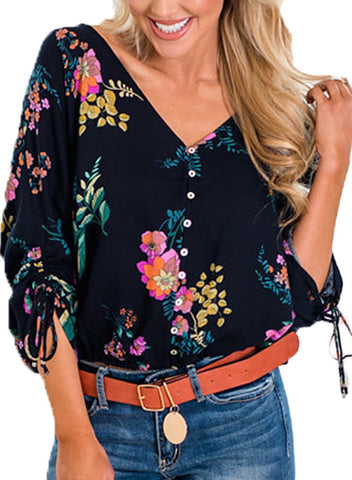 Vanilla Floral Button up Top
