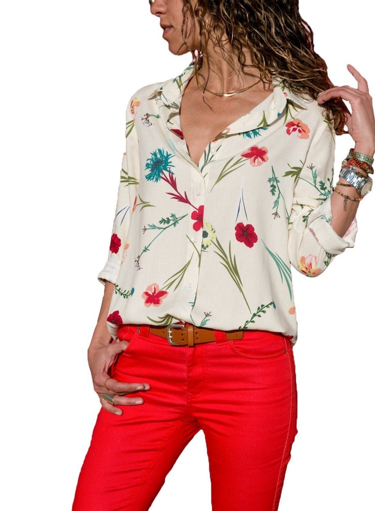 Long Sleeve Floral Print Button Front Shirt