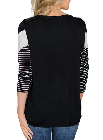 Image of 3/4 Sleeve Color Block Striped Top
