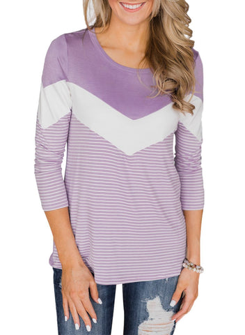 3/4 Sleeve Color Block Striped Top