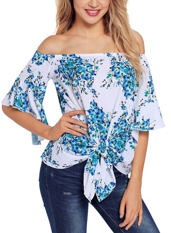 Image of Floral Tie Front Off The Shoulder Top
