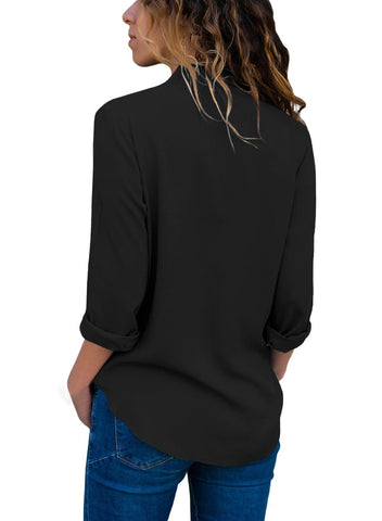 Image of Front Wrap Long Sleeve Blouse