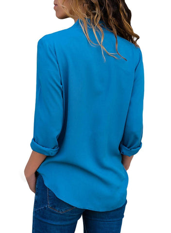 Front Wrap Long Sleeve Blouse