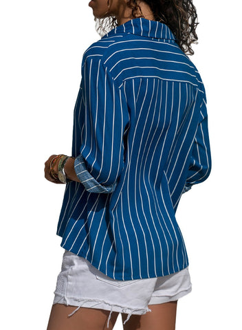 Image of Striped Long Sleeve Button Down Shirts