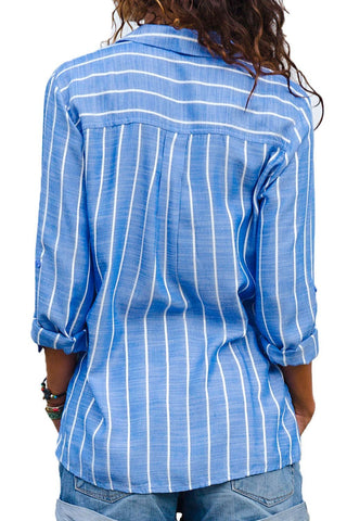 Image of Striped Roll Tab Sleeve Button Shirt