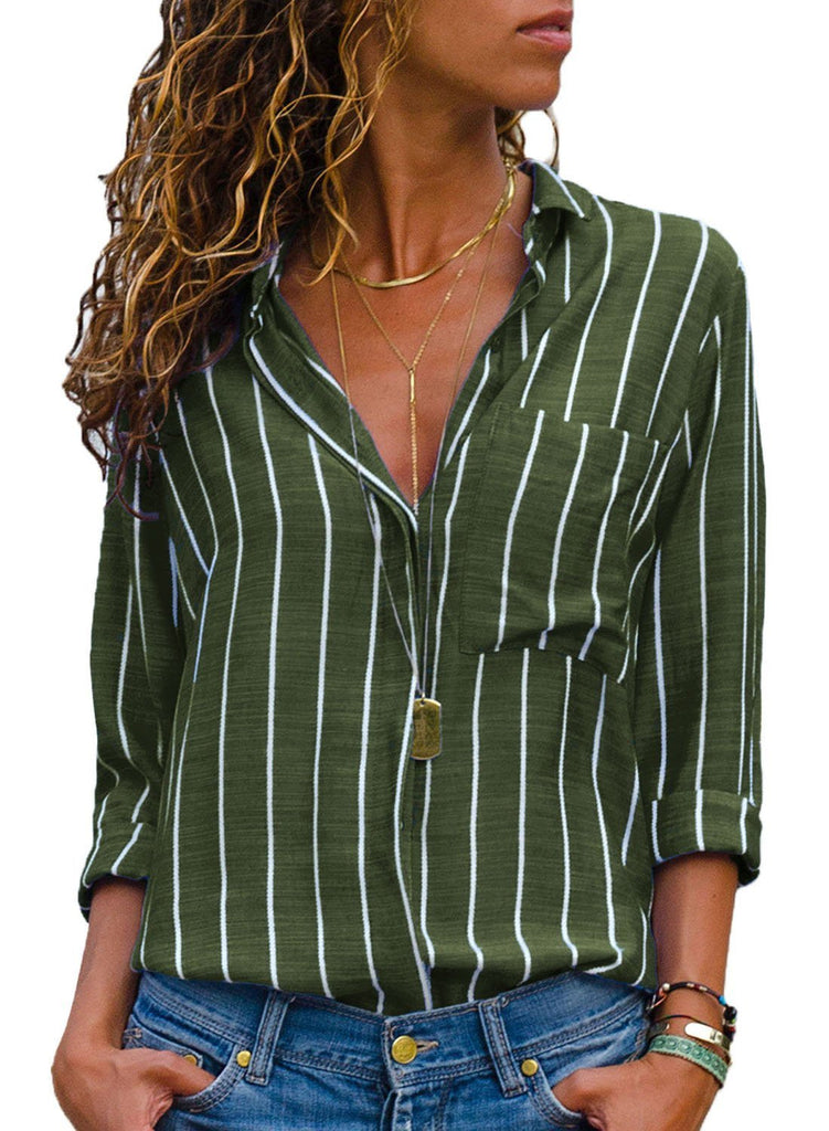 Striped Roll Tab Sleeve Button Shirt