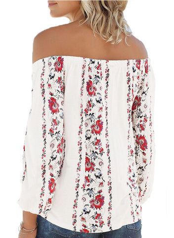 Floral Print Elastic Off Shoulder Top(LC251350-1-2)