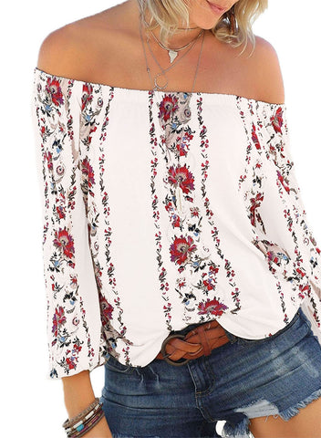 Floral Print Elastic Off Shoulder Top(LC251350-1-1)
