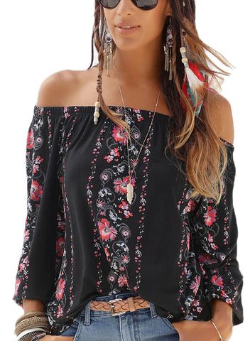 Floral Print Elastic Off Shoulder Top(LC251350-2-1)