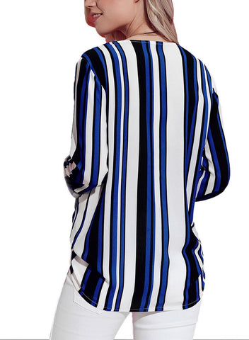 Image of Striped Asymmetric Button Down Shirt