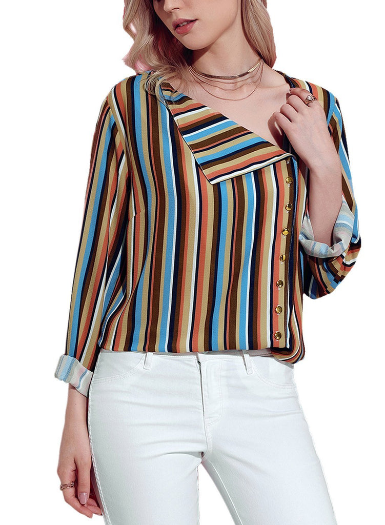 Striped Asymmetric Button Down Shirt