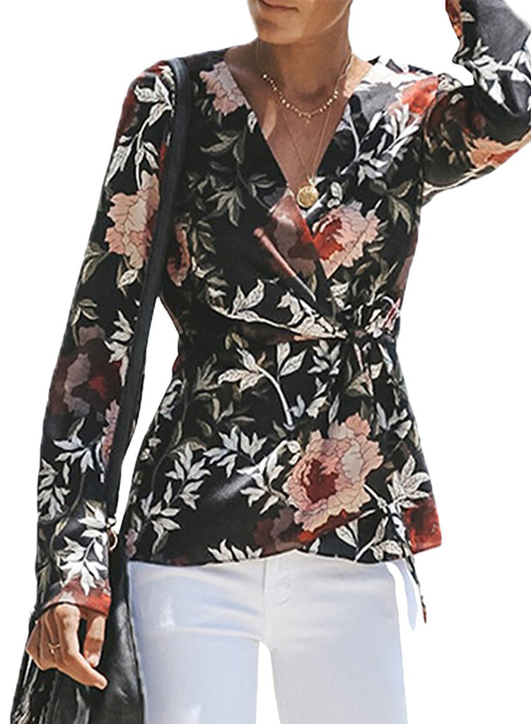 Floral Wrap Tie Waist Long Sleeve Blouse