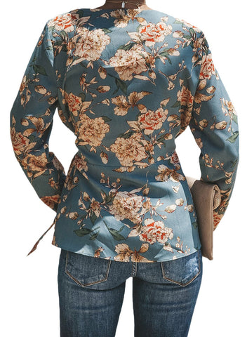 Image of Floral Wrap Tie Waist Long Sleeve Blouse