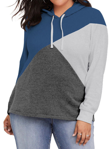 Plus Size Color Block Hooded Top