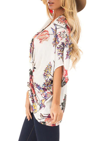Floral Print Draped Front Knot Top