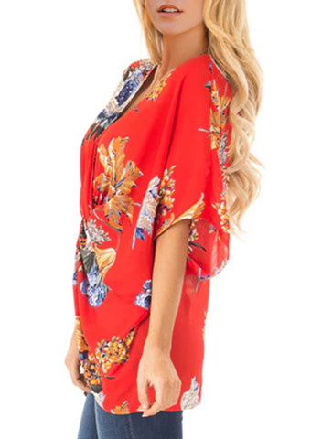 Image of Floral Print Draped Front Knot Top