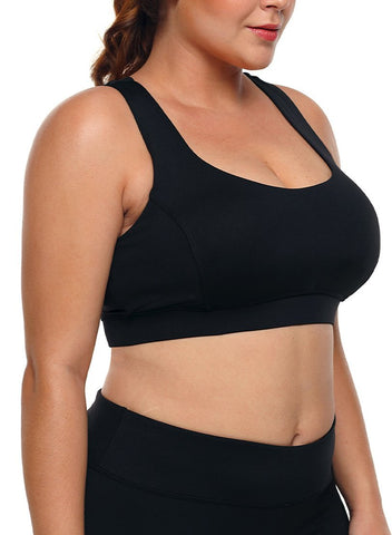 Image of White Plus Size Racerback U-shaped Neck Sport Bra