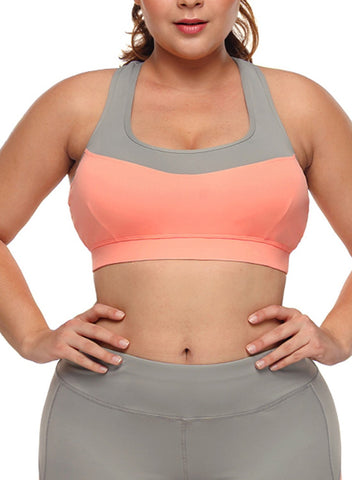Image of Coral Grey Crossed Keyhole Back Sports Bra