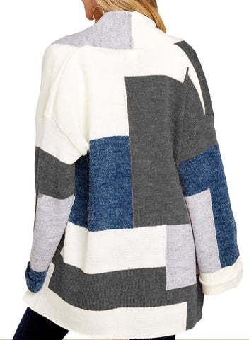 Image of Color Block Open Front Cardigan