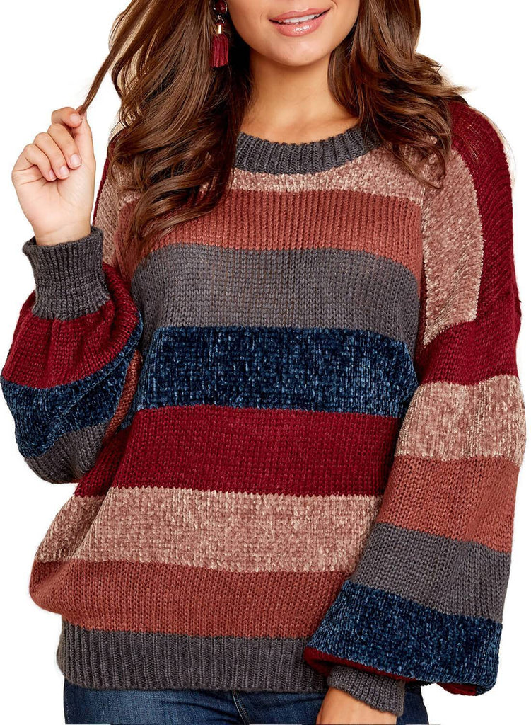 Striped Color Block Loose Sweater