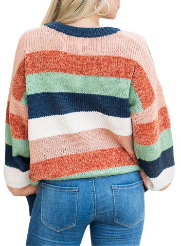 Image of Striped Color Block Loose Sweater