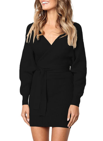 Image of Long Sleeve V Neck Tied Sweater Dress