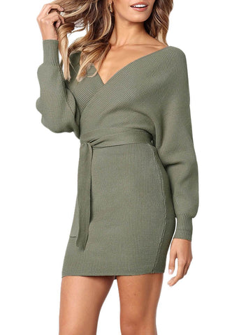 Long Sleeve V Neck Tied Sweater Dress