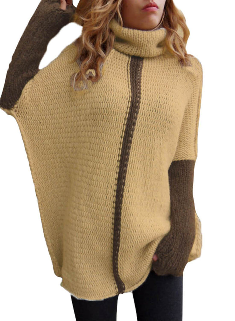 Color Block Cowl Neck Pullover Sweater