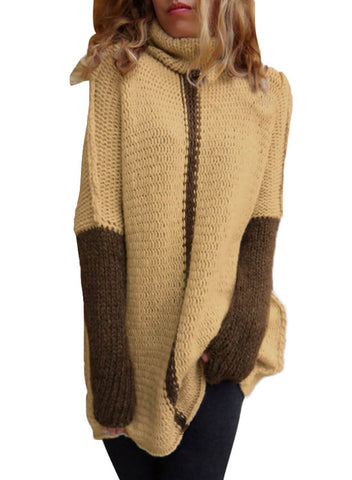 Image of Color Block Cowl Neck Pullover Sweater