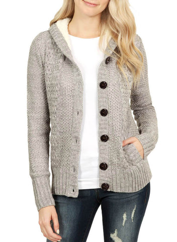 Image of Fleece Hooded Button Down Cardigan Coat