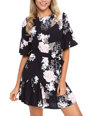 Floral Ruffle Chiffon Dress