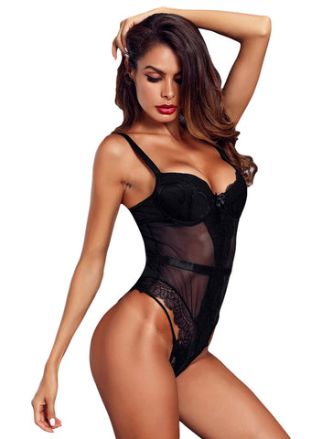 Image of Sheer Lace Spaghetti Strap Bodysuit(LC32259-1-2)