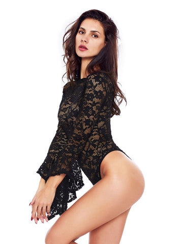 Sheer Floral Lace Long Bell Sleeve Bodysuit(LC32158-2-2)