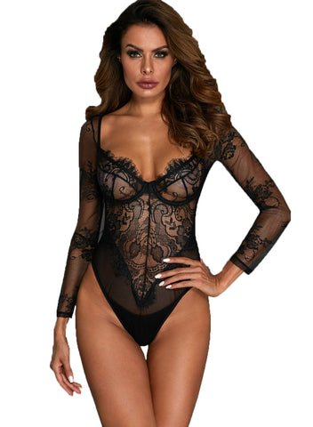 Long Sleeve Underwire Lace Bodysuit(LC32299-2-1)