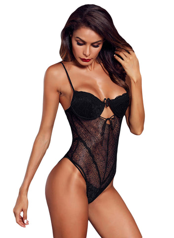 Image of Designful Underwire Lace Mesh Bodysuit(LC32260-2-2)