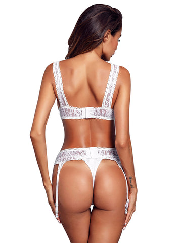 Image of Seductive Lace Bralette Garter Set(LC43011-1-2)