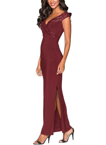 Image of Red Sequin Wrap V Neckline Long Evening Dress