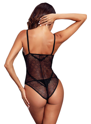 Image of Designful Underwire Lace Mesh Bodysuit(LC32260-2-3)
