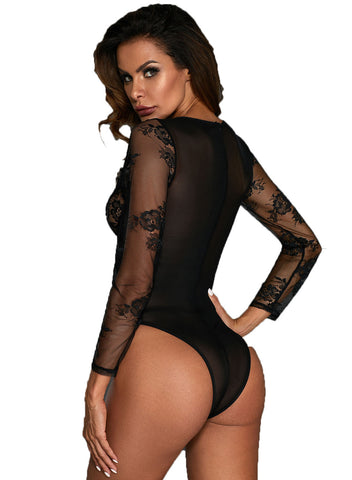 Long Sleeve Underwire Lace Bodysuit(LC32299-2-3)