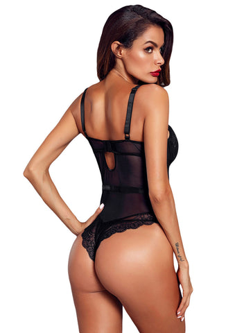 Image of Sheer Lace Spaghetti Strap Bodysuit(LC32259-1-3)